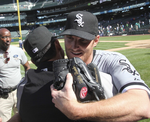 SEATTLE, WA - APRIL 21:  Starting pitcher Philip Humber #41 (R) of the Chicago White Sox is congratulated after throwing a perfect game against the Seattle Mariners at Safeco Field on April 21, 2012 in Seattle, Washington. This was the 21st perfect game in Major League Baseball history. (Photo by Otto Greule Jr/Getty Images)