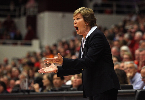 PALO ALTO, CA - DECEMBER 20:  Tennessee Lady Volunteers head coach Pat Summitt argues with the referee during their game against the Stanford Cardinal at Maples Pavilion on December 20, 2011 in Palo Alto, California.  (Photo by Ezra Shaw/Getty Images)