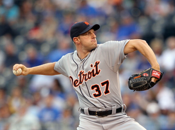 KANSAS CITY, MO - APRIL 18:  Starting pitcher Max Scherzer #37 of the Detroit Tigers pitches during the game against the Kansas City Royals on April 18, 2012 at Kauffman Stadium in Kansas City, Missouri.  (Photo by Jamie Squire/Getty Images)