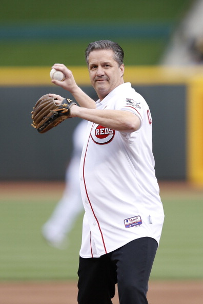 CINCINNATI, OH - APRIL 24: University of Kentucky basketball coach John Calipari throws out the first pitch before the game between the Cincinnati Reds and San Francisco Giants at Great American Ball Park on April 24, 2012 in Cincinnati, Ohio. (Photo by Joe Robbins/Getty Images)