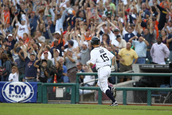 DETROIT, MI - SEPTEMBER 10:  Brandon Inge #15 of the Detroit Tigers starts his trot around the bases after his walk-off home run in the bottom of the ninth inning against the Minnesota Twins during a MLB game at Comerica Park on September 10, 2011 in Detroit, Michigan.  The Tigers won 3-2  (Photo by Dave Reginek/Getty Images)