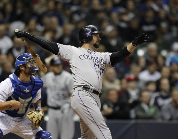 MILWAUKEE,WI - APRIL 20: Todd Helton #17 of the Colorado Rockies bats against Milwaukee Brewers at Miller Park on April 20, 2012 in Milwaukee, Wisconsin.  (Photo by Jeffrey Phelps/Getty Images)