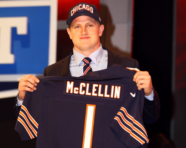NEW YORK, NY - APRIL 26:  Shea McClellin (R) of Boise State holds up a jersey as he stands on stage after he was selected #19 overall by the Chicago Bears in the first round of the 2012 NFL Draft at Radio City Music Hall on April 26, 2012 in New York City.  (Photo by Al Bello/Getty Images)