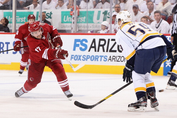 GLENDALE, AZ - APRIL 27:  Radim Vrbata #17 of the Phoenix Coyotes shoots the puck past Roman Josi #59 of the Nashville Predators in Game One of the Western Conference Semifinals during the 2012 NHL Stanley Cup Playoffs at Jobing.com Arena on April 27, 2012 in Glendale, Arizona.  The Coyotes defeated the Predators 4-3 in overtime.  (Photo by Christian Petersen/Getty Images)