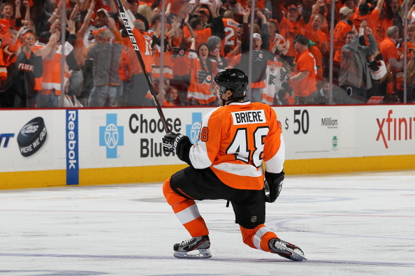 PHILADELPHIA, PA - APRIL 29:  Danny Briere #48 of the Philadelphia Flyers celebrates his overtime goal against the New Jersey Devils in Game One of the Eastern Conference Semifinals during the 2012 NHL Stanley Cup Playoffs at the Wells Fargo Center on April 29, 2012 in Philadelphia, Pennsylvania.  (Photo by Jim McIsaac/Getty Images)