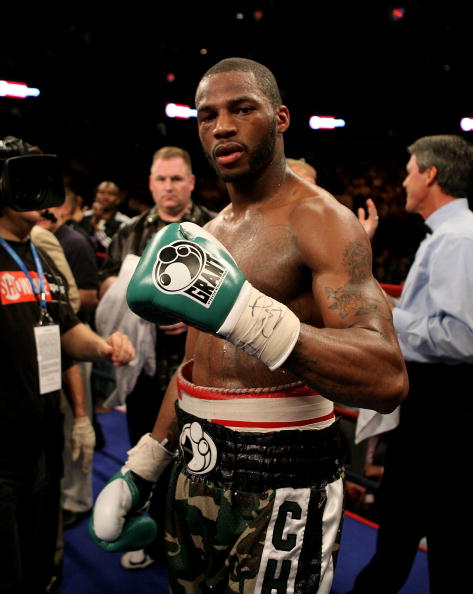 TAMPA, FLORIDA - APRIL 12:   Chad Dawson celebrates his win against Glen Johnson after the WBC Light Heavyweight title fight on Saturday April 12, 2008 at St. Pete Times Forum, Tampa, Florida.  (Photo by John Gichigi/Getty Images)