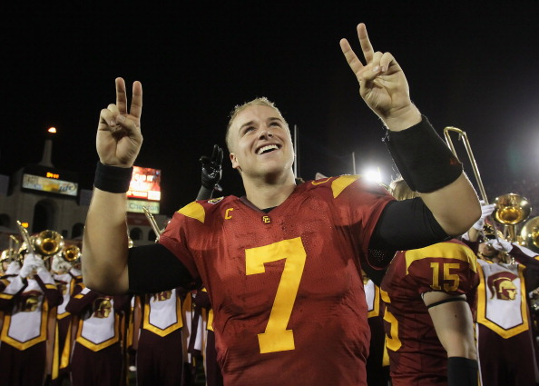 LOS ANGELES, CA - NOVEMBER 26:  Quarterback Matt Barkley #7 of the USC Trojans celebrates following the game against the UCLA Bruins at Los Angeles Memorial Coliseum on November 26, 2011 in Los Angeles, California. USC defeated UCLA 50-0.  (Photo by Jeff Gross/Getty Images)