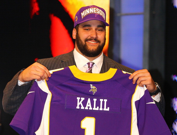 NEW YORK, NY - APRIL 26:  Matt Kalil from USC holds up a jersey as he stands on stage after he was selected #4 overall by the Minnesota Vikings in the first round of the 2012 NFL Draft at Radio City Music Hall on April 26, 2012 in New York City.  (Photo by Al Bello/Getty Images)