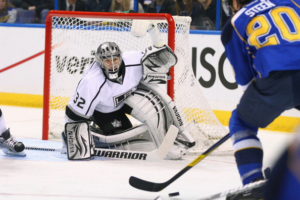 ST. LOUIS, MO - APRIL 28:  Jonathan Quick #32 of the Los Angeles Kings looks to make a save against the St. Louis Blues in Game One of the Western Conference Semifinals during the 2012 NHL Stanley Cup Playoffs at the Scottrade Center  on April 28, 2012 in St. Louis, Missouri.  (Photo by Dilip Vishwanat/Getty Images)