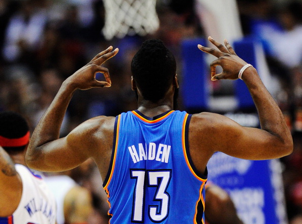 LOS ANGELES, CA - APRIL 16: James Harden #13 of the Oklahoma City Thunder reacts afterscoring a three point basket against the Los Angeles Clippers during the second quarter of the NBA basketball game at Staples Center on April 16, 2012 in Los Angeles, California.NOTE TO USER: User expressly acknowledges and agrees that, by downloading and or using this photograph, User is consenting to the terms and conditions of the Getty Images License Agreement.  (Photo by Kevork Djansezian/Getty Images)