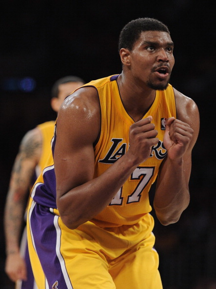 LOS ANGELES, CA - APRIL 17:  Andrew Bynum #17 of the Los Angeles Lakers reacts to his basket and a foul during the game against the San Antonio Spurs at Staples Center on April 17, 2012 in Los Angeles, California.  NOTE TO USER: User expressly acknowledges and agrees that, by downloading and or using this photograph, User is consenting to the terms and conditions of the Getty Images License Agreement.  (Photo by Harry How/Getty Images)