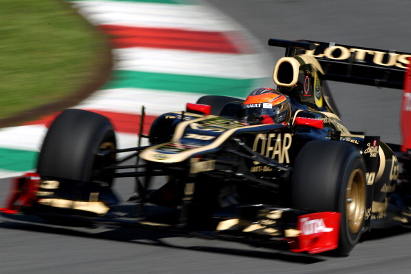 MUGELLO, ITALY - MAY 02:  Romain Grosjean of France and Lotus in action during Formula One Testing at the Mugello Circuit on May 2, 2012 in Mugello, Italy.  (Photo by Andrew Hone/Getty Images)