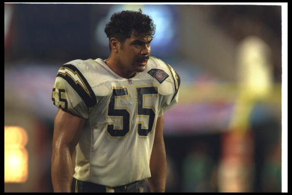 29 Jan 1995:  Linebacker Junior Seau of the San Diego Chargers looks on during Super Bowl XXIX against the San Francisco 49ers at Joe Robbie Stadium in Miami, Florida.  The 49ers won the game, 49-26. Mandatory Credit: Rick Stewart  /Allsport