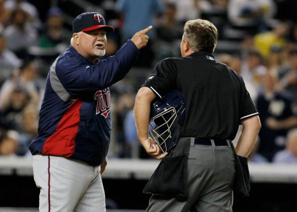 NEW YORK, NY - APRIL 17: Ron Gardenhire #5 of the Minnesota Twins argues with Home Plate Umpire Greg Gibson #53 after being ejected in the top outfield the second-inning during the game against the New York Yankees at Yankee Stadium on April 17, 2012 in the Bronx borough of New York City.  (Photo by Mike Stobe/Getty Images)