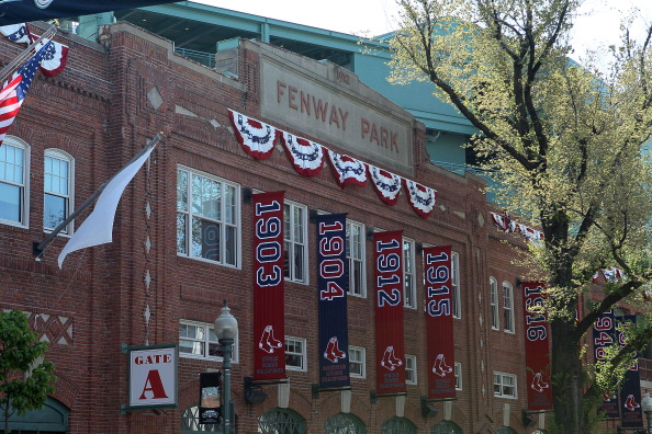 BOSTON, MA - APRIL 20:  A view from Yawkey Way before the game between the New York Yankees and the Boston Red Sox on April 20, 2012 at Fenway Park in Boston, Massachusetts. Today marks the 100 year anniversary of the ball park's opening.  (Photo by Elsa/Getty Images)