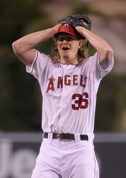 ANAHEIM, CA - MAY 02:  Starting pitcher Jered Weaver #36 of the Los Angeles Angels of Anaheim celebrates after throwing a no-hitter against the Minnesota Twins at Angel Stadium of Anaheim on May 2, 2012 in Anaheim, California. The Angels defeated the Twins 9-0.  (Photo by Jeff Gross/Getty Images)