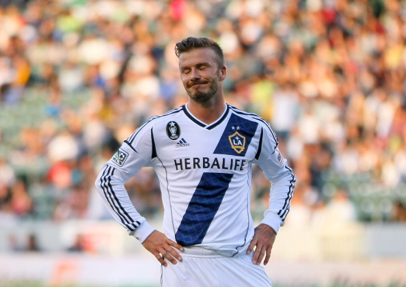 CARSON, CA - MAY 05:  David Beckham #23 of the Los Angeles Galaxy reacts after missing on a scoring opportunity in the second half of the MLS match against the New York Red Bulls at The Home Depot Center on May 5, 2012 in Carson, California. The Red Bulls defeated the Galaxy 1-0.  (Photo by Victor Decolongon/Getty Images)