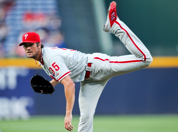 ATLANTA, GA - MAY 1: Cole Hamels #35 of the Philadelphia Phillies pitches in the first inning against the Atlanta Braves on May 1, 2012 at Turner Field in Atlanta, Georgia. (Photo by Daniel Shirey/Getty Images)