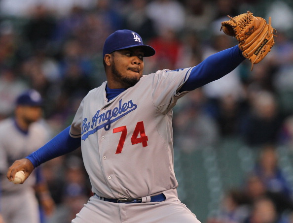CHICAGO, IL - MAY 06:  Kenley Jansen #74 of the Los Angeles Dodgers pitches against the Chicago Cubs in the 9th inning at Wrigley Field on May 6, 2012 in Chicago, Illinois. The Cubs defeated the Dodgers 4-3 in 11 innings.  (Photo by Jonathan Daniel/Getty Images)