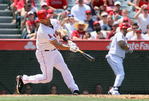 ANAHEIM, CA - MAY 06:  Albert Pujols #5 of the Los Angeles Angels of Anaheim hits his first home run of the season against the Toronto Blue Jays in the sixth inning at Angel Stadium of Anaheim on May 6, 2012 in Anaheim, California.  (Photo by Jeff Gross/Getty Images)