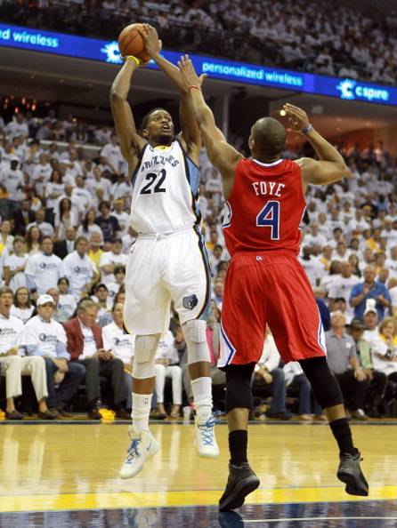 MEMPHIS, TN - MAY 09:  Rudy Gay #22 of the Memphis Grizzlies shoots the ball against the Los Angeles Clippers  in Game Five of the Western Conference Quarterfinals in the 2012 NBA Playoffs at FedExForum on May 9, 2012 in Memphis, Tennessee. NOTE TO USER: User expressly acknowledges and agrees that, by downloading and or using this photograph, User is consenting to the terms and conditions of the Getty Images License Agreement.  (Photo by Andy Lyons/Getty Images)
