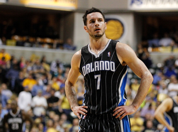 INDIANAPOLIS, IN - APRIL 30: J.J. Redick #7 of the Orlando Magic looks on late in the game on the way to a 93-78 loss to the Indiana Pacers in Game Two of the Eastern Conference Quarterfinals during the 2012 NBA Playoffs on April 30, 2012 at Bankers Life Fieldhouse in Indianapolis, Indiana.  NOTE TO USER: User expressly acknowledges and agrees that, by downloading and or using this photograph, User is consenting to the terms and conditions of the Getty Images License Agreement. (Photo by Gregory Shamus/Getty Images)
