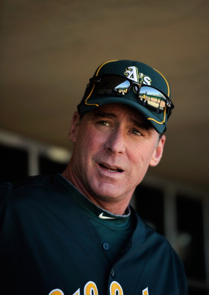 PHOENIX, AZ - MARCH 10:  Manager Bob Melvin of the Oakland Athletics before the start of a spring training baseball game against the Cincinnati Reds at the Phoenix Municipal Stadium on March 10, 2012 in Phoenix, Arizona.  (Photo by Kevork Djansezian/Getty Images)