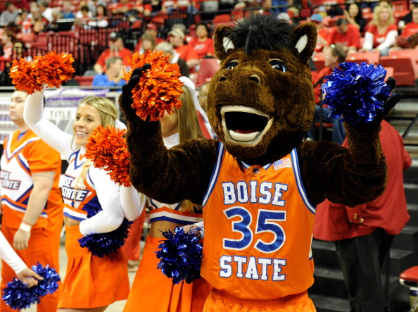 LAS VEGAS, NV - MARCH 08:  Boise State Broncos mascot Buster Bronco appears with cheerleaders before a quarterfinal game of the Conoco Mountain West Conference Basketball tournament against the San Diego State Aztecs at the Thomas & Mack Center March 8, 2012 in Las Vegas, Nevada. San Diego State won 65-62.  (Photo by Ethan Miller/Getty Images)