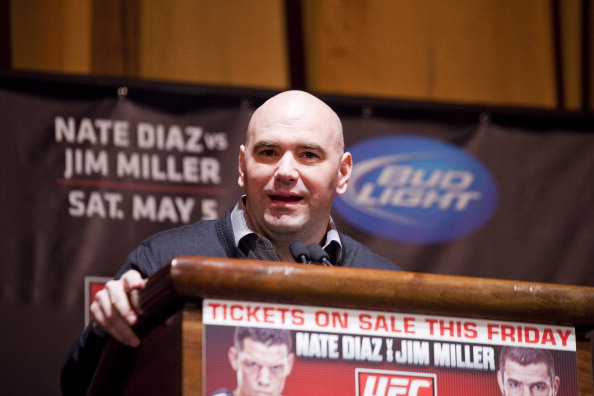 NEW YORK - MARCH 06:   UFC president Dana White speaks at a press conference at Radio City Music Hall on March 06, 2012 in New York City.  UFC announced that their third event on the FOX network will take place on Saturday, May 5 from the IZOD Center in East Rutherford, N.J.. (Photo by Michael Nagle/Getty Images)