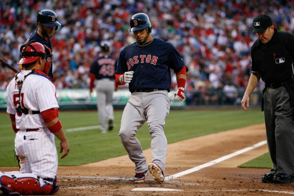 PHILADELPHIA, PA - MAY 18: Mike Aviles #3 of the Boston Red Sox crosses home plate after hitting a home run in the third inning of the game against the Philadelphia Phillies at Citizens Bank Park on May 18, 2012 in Philadelphia, Pennsylvania. (Photo by Brian Garfinkel/Getty Images)