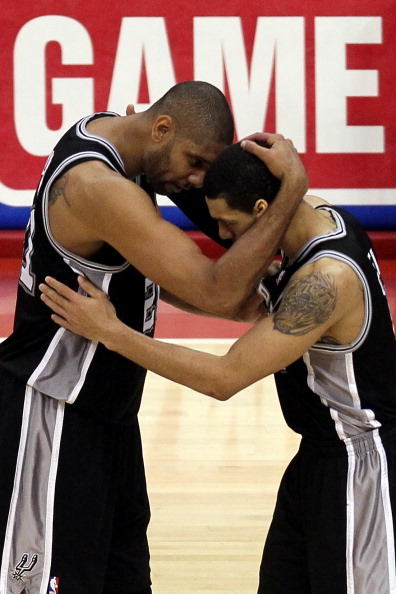 LOS ANGELES, CA - MAY 20:  Tim Duncan #21 and Danny Green #4 of the San Antonio Spurs celebrate late in the fourth quarter while taking on the Los Angeles Clippers in Game Four of the Western Conference Semifinals in the 2012 NBA Playoffs on May 20, 2011 at Staples Center in Los Angeles, California. NOTE TO USER: User expressly acknowledges and agrees that, by downloading and or using this photograph, User is consenting to the terms and conditions of the Getty Images License Agreement.  (Photo by Jeff Gross/Getty Images)