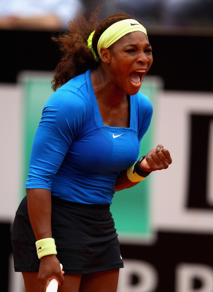 ROME, ITALY - MAY 16:  Serena Williams of the USA celebrates a point against Nadia Petrova of Russia in their second round match during day five of the Internazionali BNL d'Italia 2012 at the Foro Italico Tennis Centre on May 16, 2012 in Rome, Italy.  (Photo by Clive Brunskill/Getty Images)