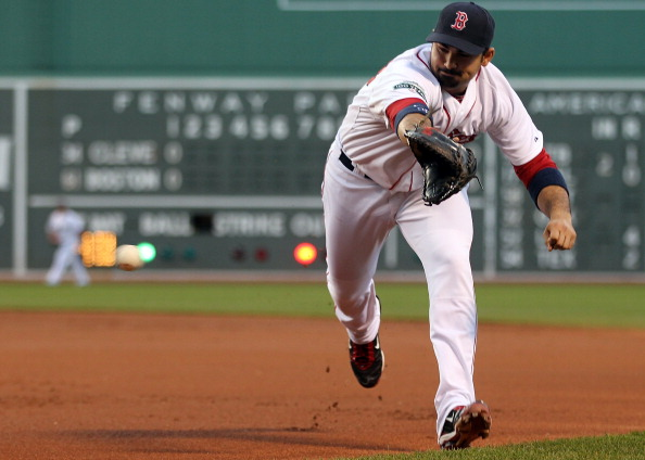 BOSTON, MA - MAY 12:  Adrian Gonzalez #28 of the Boston Red Sox chases a ground ball during a game with the Cleveland Indians at Fenway Park May 12, 2012  in Boston, Massachusetts. (Photo by Jim Rogash/Getty Images)