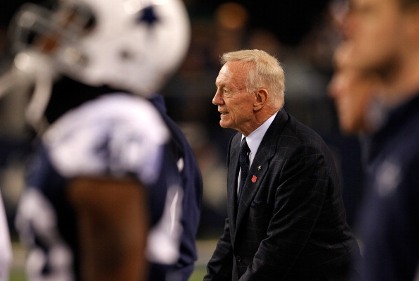 ARLINGTON, TX - NOVEMBER 24:  Dallas Cowboys owner Jerry Jones looks on from the sidelines as the Dallas Cowboys take on the Miami Dolphins during the Thanksgiving Day game at Cowboys Stadium on November 24, 2011 in Arlington, Texas. The Dallas Cowboys beat the Miami Dolphins 20-19.  (Photo by Tom Pennington/Getty Images)