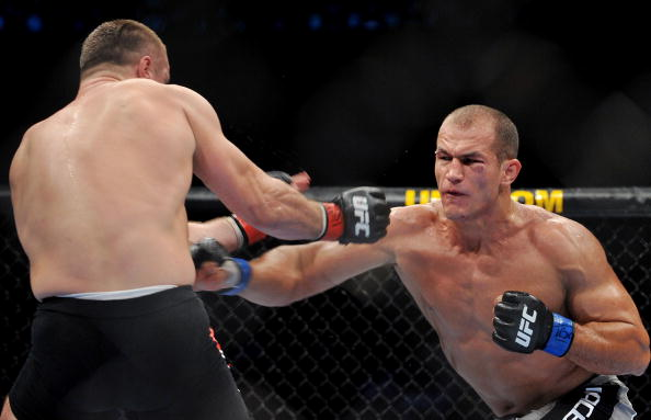 DALLAS - SEPTEMBER 19:  UFC fighter Junior Dos Santos (R) battles UFC fighter Mirko Cro Cop (L) during their Heavyweight bout at UFC 103: Franklin vs. Belfort at the American Airlines Center on September 19, 2009 in Dallas, Texas.  (Photo by Jon Kopaloff/Getty Images)