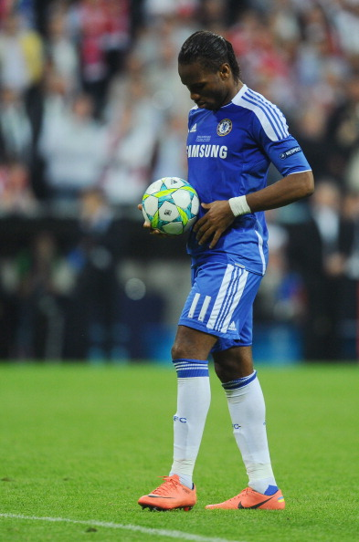 MUNICH, GERMANY - MAY 19:  Didier Drogba of Chelsea prepares to take a penalty in the shoot out during UEFA Champions League Final between FC Bayern Muenchen and Chelsea at the Fussball Arena München on May 19, 2012 in Munich, Germany.  (Photo by Mike Hewitt/Getty Images)