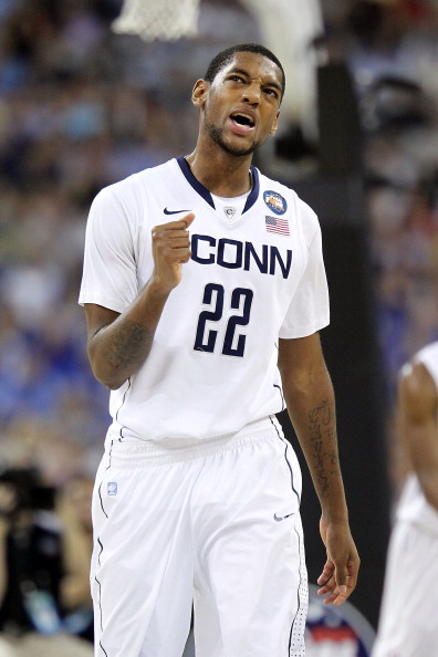 HOUSTON, TX - APRIL 02:  Roscoe Smith #22 of the Connecticut Huskies reacts against the Kentucky Wildcats during the National Semifinal game of the 2011 NCAA Division I Men's Basketball Championship at Reliant Stadium on April 2, 2011 in Houston, Texas.  (Photo by Andy Lyons/Getty Images)