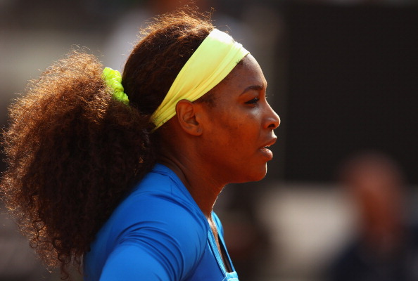 ROME, ITALY - MAY 16:  Serena Williams of the USA takes time to think against Nadia Petrova of Russia in their second round match during day five of the Internazionali BNL d'Italia 2012 at the Foro Italico Tennis Centre on May 16, 2012 in Rome, Italy.  (Photo by Clive Brunskill/Getty Images)