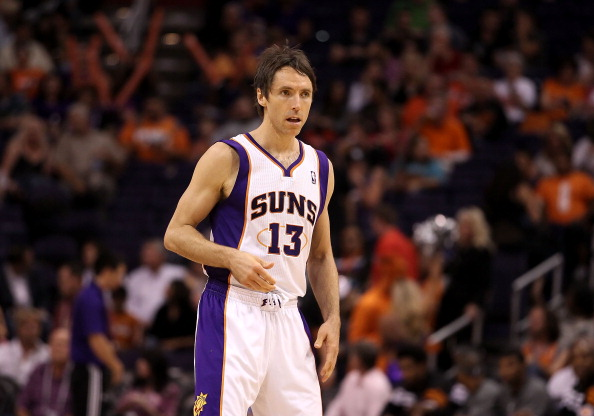 PHOENIX, AZ - APRIL 25:  Steve Nash #13 of the Phoenix Suns during the NBA game against the San Antonio Spurs at US Airways Center on April 25, 2012 in Phoenix, Arizona.  The Spurs defeated the Suns 110-106.  NOTE TO USER: User expressly acknowledges and agrees that, by downloading and or using this photograph, User is consenting to the terms and conditions of the Getty Images License Agreement.  (Photo by Christian Petersen/Getty Images)