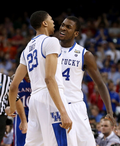 NEW ORLEANS, LA - APRIL 02:  Anthony Davis #23 and Michael Kidd-Gilchrist #14 of the Kentucky Wildcats react late in the second half while taking on the Kansas Jayhawks in the National Championship Game of the 2012 NCAA Division I Men's Basketball Tournament at the Mercedes-Benz Superdome on April 2, 2012 in New Orleans, Louisiana.  (Photo by Jeff Gross/Getty Images)