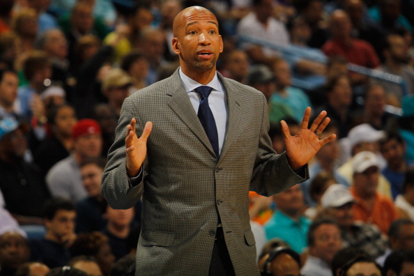 NEW ORLEANS, LA - MARCH 14:  Head coach Monty Williams of the New Orleans Hornets against the Los Angeles Lakers at the New Orleans Arena on March 14, 2012 in New Orleans, Louisiana.  NOTE TO USER: User expressly acknowledges and agrees that, by downloading and or using this photograph, User is consenting to the terms and conditions of the Getty Images License Agreement.  (Photo by Chris Graythen/Getty Images)