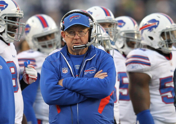 FOXBORO, MA - JANUARY 1:  Chan Gailey, coach of the Buffalo Bills paces the sidelines during a game with the New England Patriots in the second half at Gillette Stadium on January 1, 2012 in Foxboro, Massachusetts. (Photo by Jim Rogash/Getty Images)