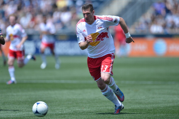 CHESTER, PA- MARCH 13: Kenny Cooper #33 of the New York Red Bulls plays the ball during the game against the Philadelphia Union at PPL Park on May 13, 2012 in Chester, Pennsylvania. (Photo by Drew Hallowell/Getty Images)