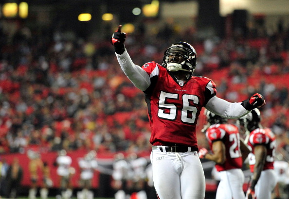 ATLANTA, GA - JANUARY 01: Sean Weatherspoon #56 of the Atlanta Falcons celebrates after stopping a two-point conversion attempt by the Tampa Bay Buccaneers during play at the Georgia Dome on January 1, 2012 in Atlanta, Georgia. The Falcons won 45-24. (Photo by Grant Halverson/Getty Images)