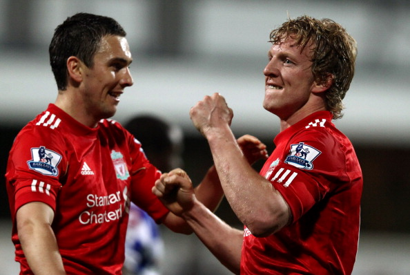 LONDON, ENGLAND - MARCH 21:  Dirk Kuyt of Liverpoo of Liverpool celebrates scoring a goal during the Barclays Premier League match between Queens Park Rangers and Liverpool at Loftus Road on March 21, 2012 in London, England.  (Photo by Ian Walton/Getty Images)