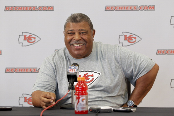 KANSAS CITY, MO - May 13:  Head coach Romeo Crennel of the Kansas City Chiefs speaks with the media about the days camps during the Kansas City Chiefs Minicamp on May 13, 2012 at the Chiefs Training Facility in Kansas City, Missouri. (Photo by Kyle Rivas/Getty Images)