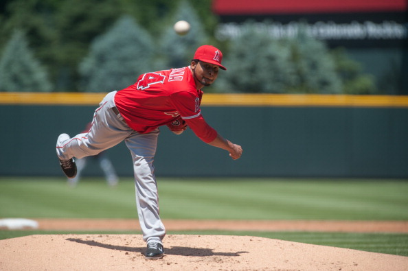DENVER, CO - JUNE 10:  Ervin Santana #54 of the Los Angeles Angels pitches in the first inning of an interleague game against the Colorado Rockies at Coors Field on June 10, 2012 in Denver, Colorado.  (Photo by Dustin Bradford/Getty Images)