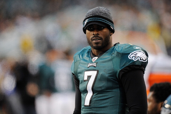 PHILADELPHIA, PA - JANUARY 01:  Michael Vick #7 of the Philadelphia Eagles looks on from the sideline during a game against the Washington Redskins at Lincoln Financial Field on January 1, 2012 in Philadelphia, Pennsylvania.  (Photo by Patrick McDermott/Getty Images)