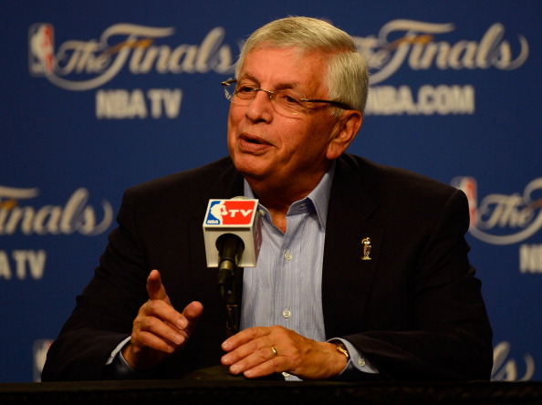 OKLAHOMA CITY, OK - JUNE 12:  NBA Commissioner David Stern addresses the media in Game One of the 2012 NBA Finals at Chesapeake Energy Arena on June 12, 2012 in Oklahoma City, Oklahoma. NOTE TO USER: User expressly acknowledges and agrees that, by downloading and or using this photograph, User is consenting to the terms and conditions of the Getty Images License Agreement.  (Photo by Ronald Martinez/Getty Images)