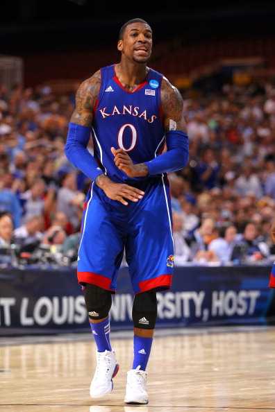 ST LOUIS, MO - MARCH 25:  Thomas Robinson #0 of the Kansas Jayhawks reacts against the North Carolina Tar Heels during the 2012 NCAA Men's Basketball Midwest Regional Final at Edward Jones Dome on March 25, 2012 in St Louis, Missouri.  (Photo by Dilip Vishwanat/Getty Images)